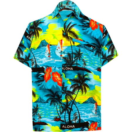 Hawaiian Shirt Mens Beach Aloha Camp Party Casual Holiday Short Sleeve Scenic Print (Mens 60's Clothes)