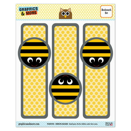 Birthday Bookmarks - Bumble Bee Party Girl Birthday Glossy Laminated Bookmarks - Set of 3