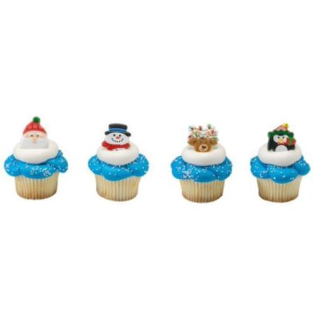 24 Holiday Icon Christmas Cupcake Rings Party Favors Cake