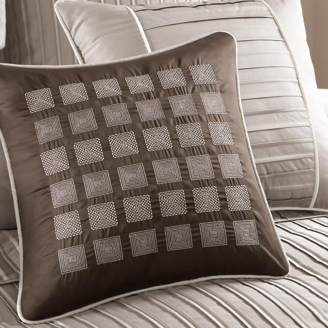 6pc Tan Taupe /& Brown Microsuede Duvet Cover Bedding Set AND Decorative Pillows