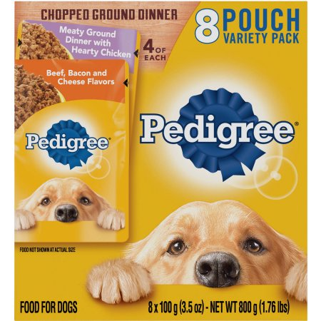 PEDIGREE Chopped Ground Dinner Variety Pack Hearty Chicken and Beef, Bacon & Cheese