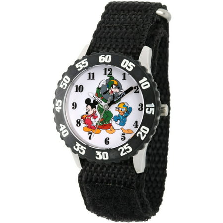 Mickey Mouse Wrist Watch - Disney Mickey Mouse, Donald Duck and Goofy Boys' Stainless Steel Time Teacher Watch, Black Bezel, Black Hook and Loop Nylon Strap