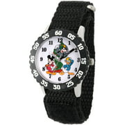 Mickey Mouse, Donald Duck and Goofy Boys' Stainless Steel Time Teacher Watch, Black Bezel, Black Hook and Loop Nylon Strap