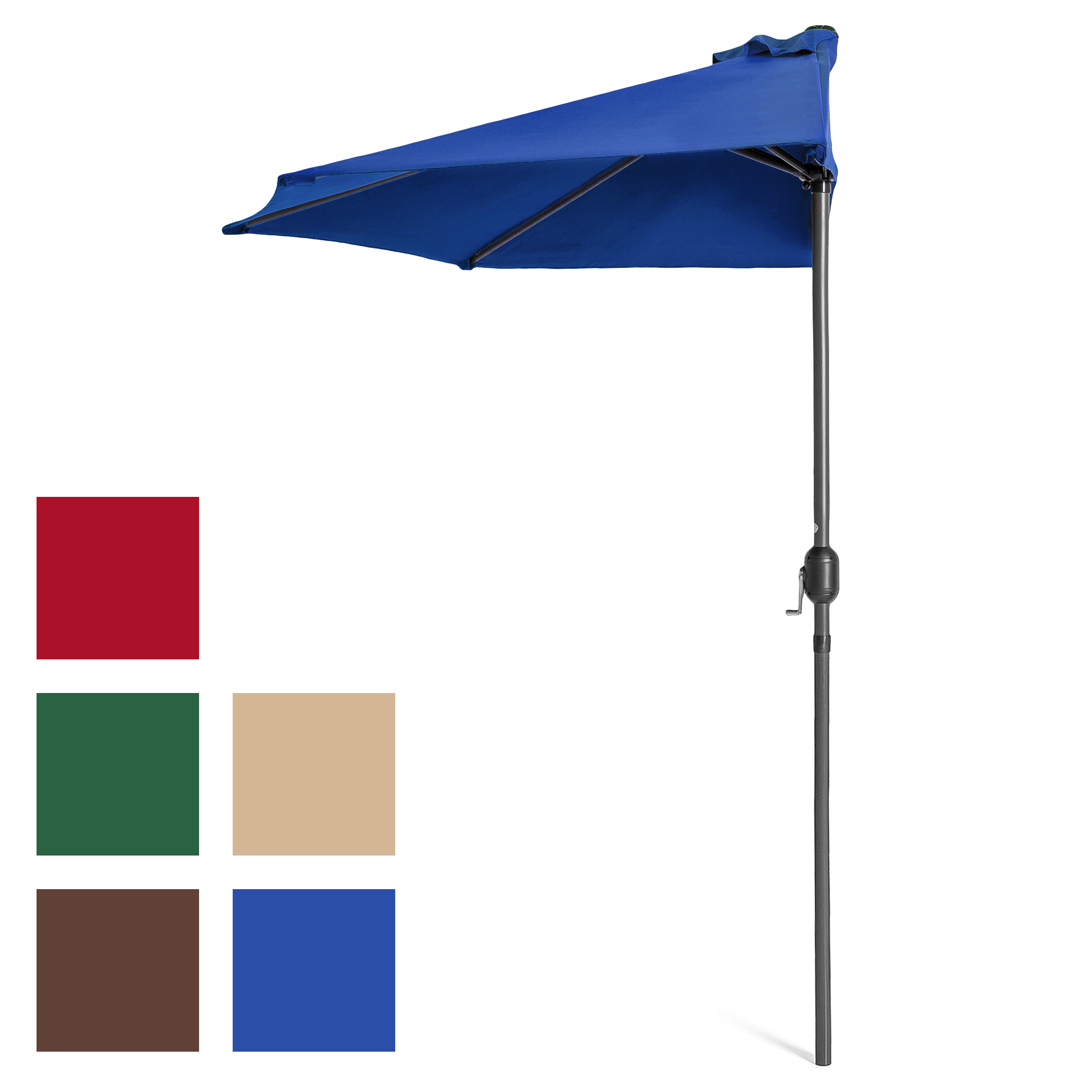 Best Choice Products 9ft Steel Half Patio Umbrella w  Crank by Best Choice Products
