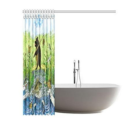 GCKG Kids Children Shower Curtain, Bear Fisherman Funny Animal Polyester Fabric Shower Curtain Bathroom Sets 60x72 Inches - image 2 de 3