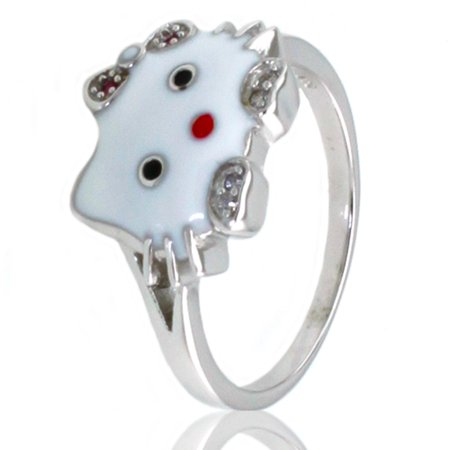 Sterling Silver Gloss Hello Kitty Promise Ring