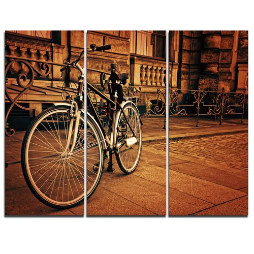 Design Art Retro Bicycle against Stone Wall - 3 Piece Graphic Art on