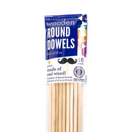 Horizon Group USA 3/16 Round Dowels, 16 Piece