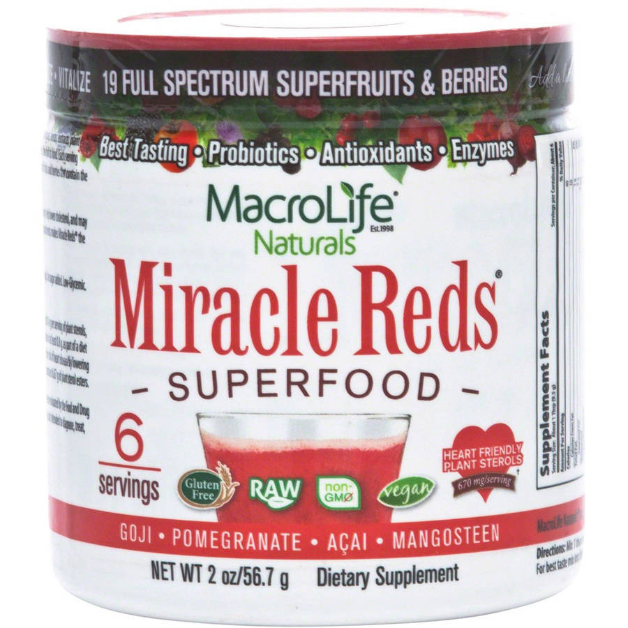 Macro Life Naturals Miracle Reds Antioxideant Super Food Powder, 2 OZ (Pack of 6)