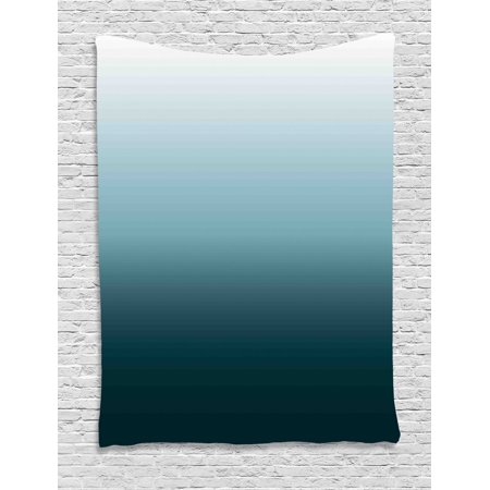 Ombre Tapestry, Vertical Change Themed Illustration with Teal Shades Darkening Design, Wall Hanging for Bedroom Living Room Dorm Decor, Teal Pale Blue and White, by Ambesonne ()
