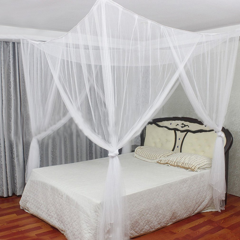 2017 New 4 Corner Post Bed Canopy 50D Polyester Mosquito Flying Bugs Net Mesh Full Queen King Size Netting Bedding White... by LESHP