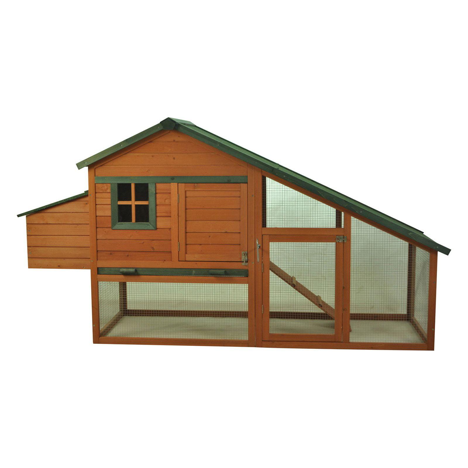 Pawhut Deluxe Wooden Backyard Chicken Coop with Run