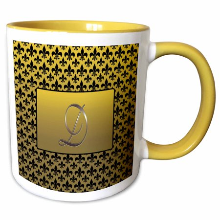 3dRose Elegant letter D embossed in gold frame over a black fleur-de-lis pattern on a gold background - Two Tone Yellow Mug, 11-ounce (Gold Embossed Rose Seal)