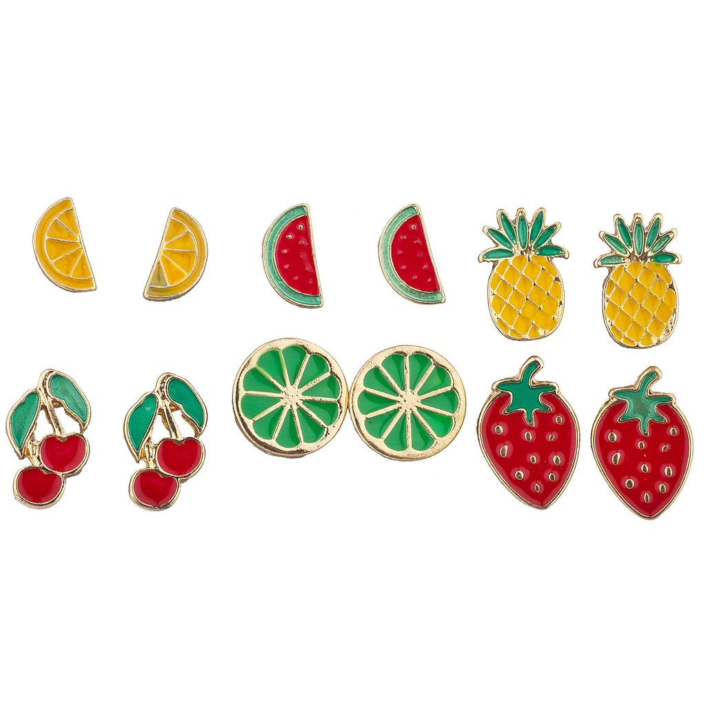 Lux Accessories Gold Tone Enamel Tropical Fruit Multi Earring Set (6pc)