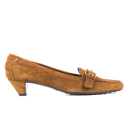 Car Shoe By Prada Brown Suede Buckle Kitten Heel Pumps