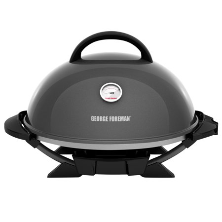 George Foreman 15+ Serving Indoor / Outdoor Electric Grill with Ceramic Plates, Gun Metal,