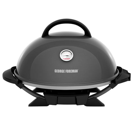 Outdoor Kitchen Appliances - George Foreman 15+ Serving Indoor / Outdoor Electric Grill with Ceramic Plates, Gun Metal, GFO3320GM