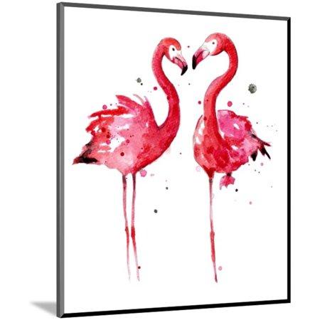 Pink Flamingos Wood Mounted Print Wall Art By Sam -
