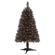 Holiday Time Prelit Spruce Christmas Tree 4 ft, Black