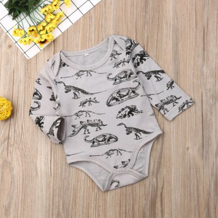Pudcoco US Newborn Baby Boys Girls Long Sleeve Animal Print Romper Cotton Clothes 0-12M