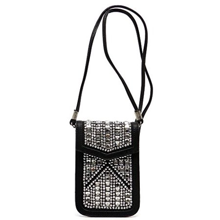 3ecb352db8 2Chique Boutique Women's Rhinestone Bling Cell Phone Case and Cross Body  Bag (Black)