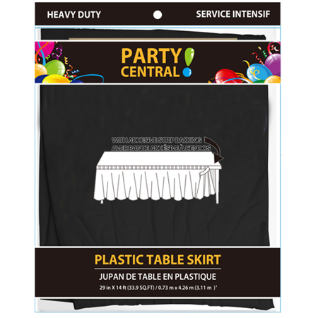 Party Central Heavy Duty Plastic Table Skirt with Adhesive Backing (14L x 29