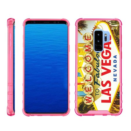 - TurtleArmor ® | For Samsung Galaxy S9+ (Plus) G965 [Clear Bumper Case] Fitted Ultra Slim TPU Case with Pink Edges - Viva Las Vegas
