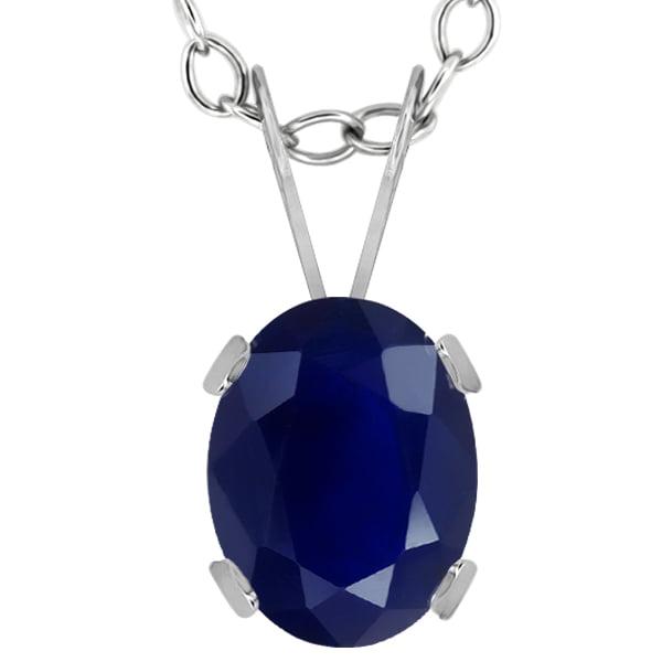 1.79 Ct Oval Blue Sapphire 14K White Gold Pendant