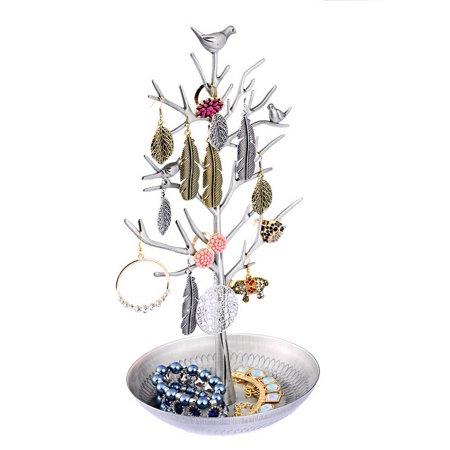 1PC Silver-grey Birds Tree Stand Jewelry Earring Ring Organizer Dish Tray Display storage store rack Earring Tree Box