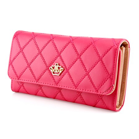 Fashion Lady Check Plaid Faux Leather Women Wallet Clutch Long Purse Card Holder Handbag Trim Wallet Clutch