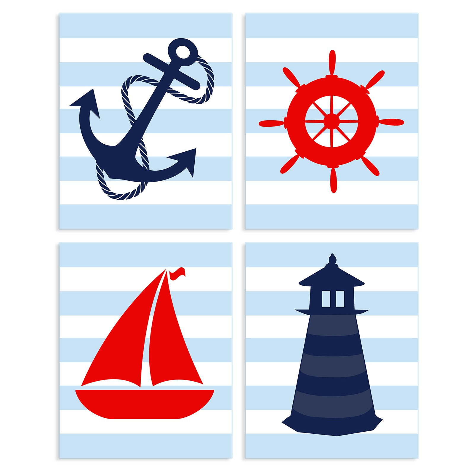 The Stupell Home Decor Collection Nautical Themed Wall Plaque - Set of 4