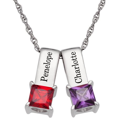 Personalized Women's Sterling Silver or 14K Gold over Silver Name and Birthstone Pendant Set of 2