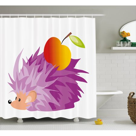 Hedgehog Shower Curtain Abstract Animal An Apple Cartoon Style Drawing Funny Caricature Of Nature