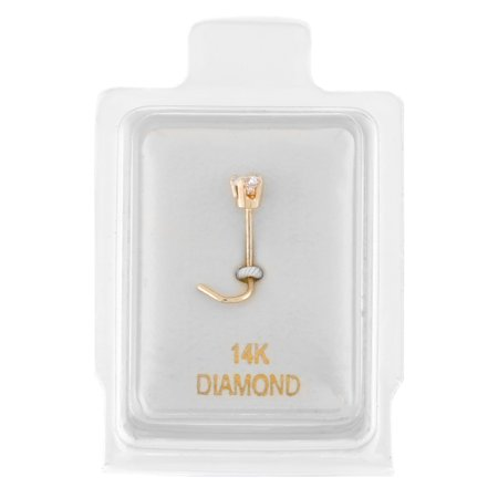 - 14K Yellow Gold 2.4mm .05 cttw Diamond Nose Ring Curve Stud Twist Screw 22G
