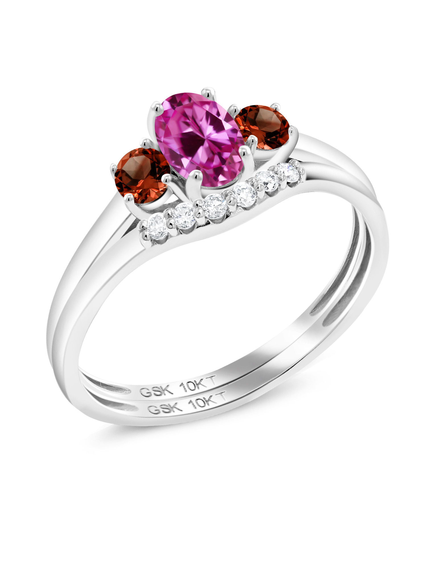 0.80 Ct Oval Pink Created Sapphire Red Garnet 10K White Gold Lab Grown Diamond Ring by