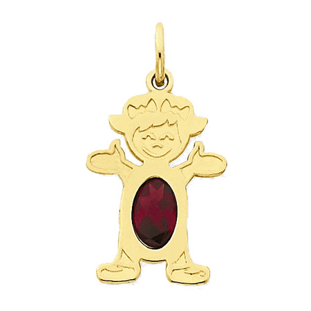 Little Girl Birthstone Charm - 14K Yellow Gold Garnet Standing Little Girl Pendant Charm - 12x21MM