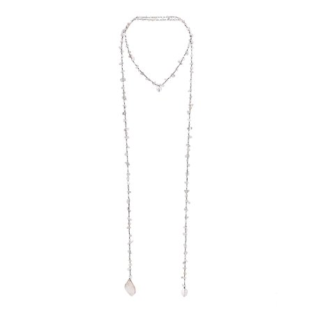 Long Lariat - Lariat Wrap Around Moonstone & Pearl Long Multi-Wear Necklace
