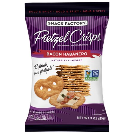 (6 pack) Snack Factory Pretzel Crisps, Bacon Habanero, 3 Oz (Halloween Pretzel Snack Bags)