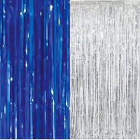 Blue and Silver Foil Door Curtain, 3ft x 8ft, 2ct