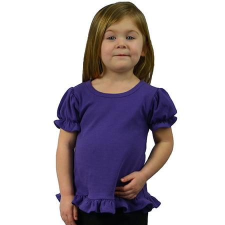 Infant Interlock Short Sleeve Ruffle Tee-Purple-6-12m