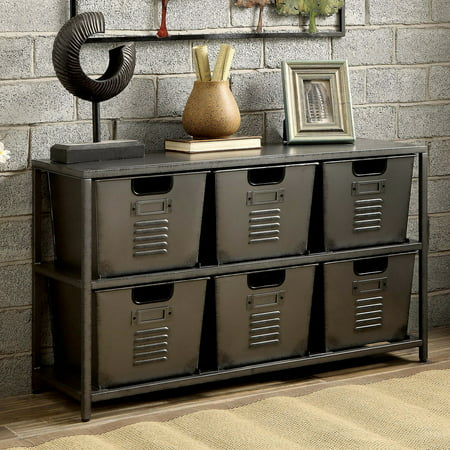 Furniture Of America Eldo Industrial Style 6 Bin Storage Case