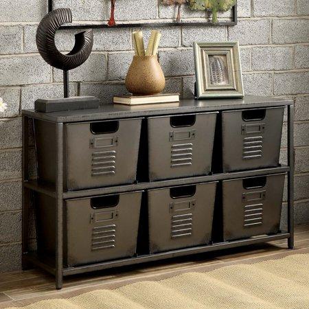- Furniture of America Eldo Industrial Style 6 Bin Storage Case