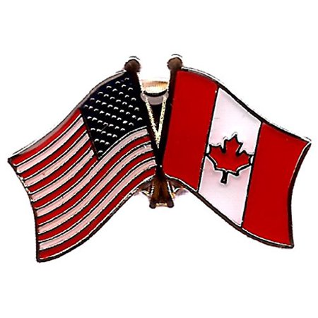 Box of 12 Canada & US Crossed Flag Lapel Pins, Canadian & American Double Friendship Tie & Hat Pin (Double Flag Pin)