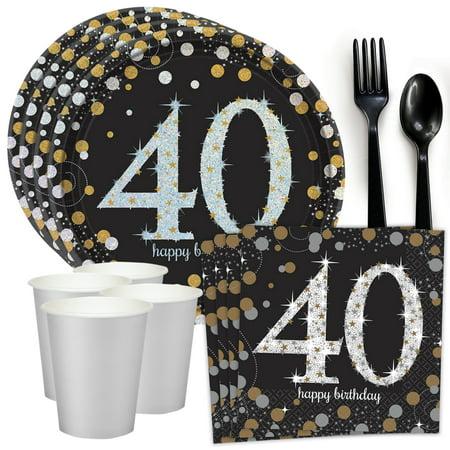 Sparkling Celebration 40th Birthday Standard Tableware Kit (Serves 8) (40th Birthday Sash)