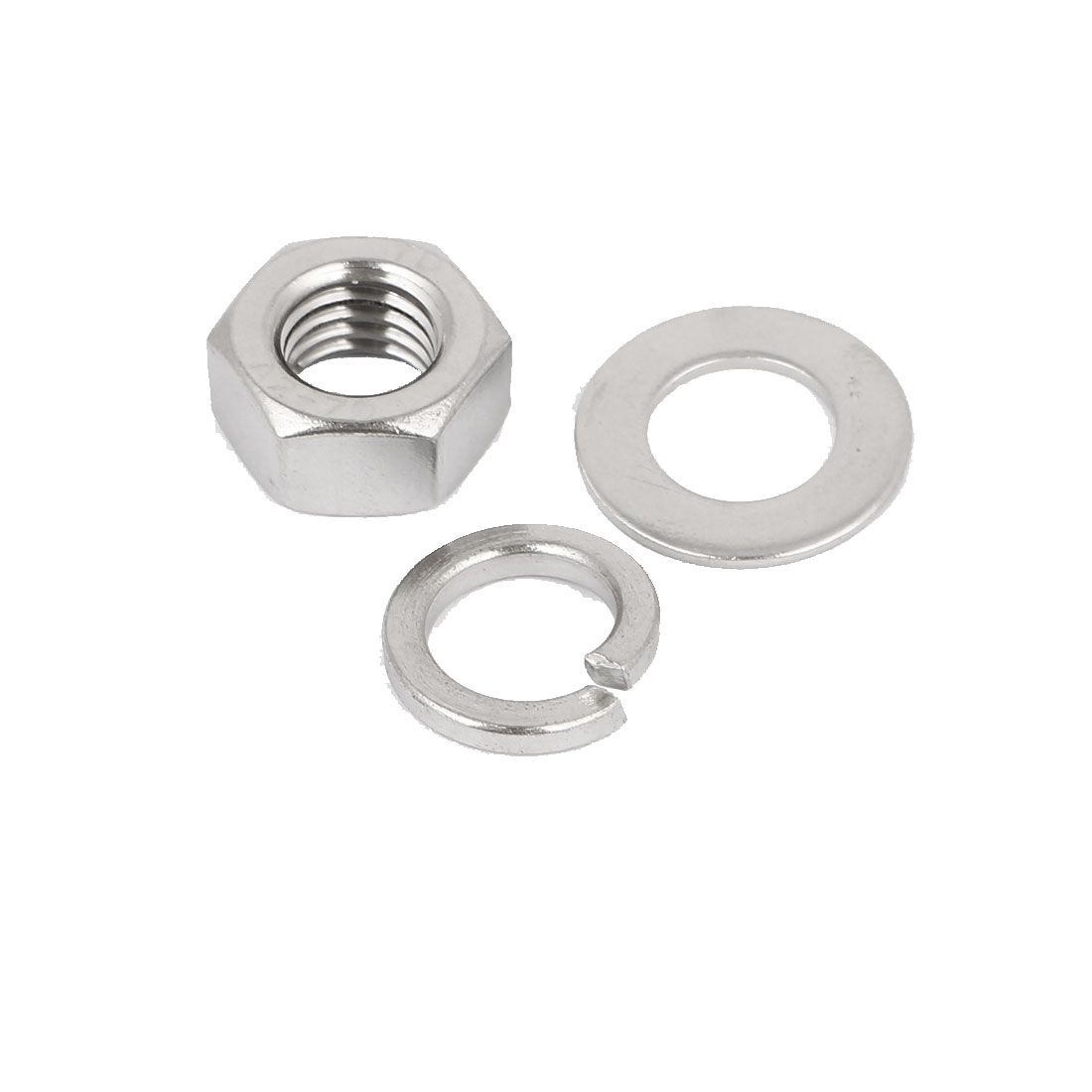 M12 Thread Diameter 304 Stainless Steel Hex Nut Flat Washer Split Lock 5 Sets - image 1 of 3