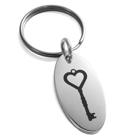 Stainless Steel Key to My Heart Engraved Small Oval Charm Keychain Keyring ()