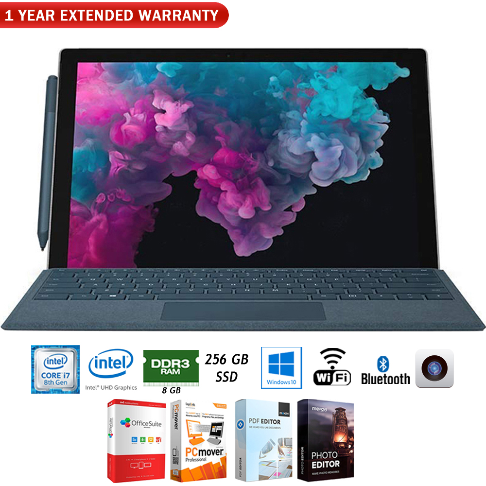 "Microsoft KJU-00001 Surface Pro 6 12.3"" Intel i7-8650U 8GB/256GB Convertible Laptop + Elite Suite 17 Software Bundle (Office Suite Pro, Photo Editor, PDF Editor, PCmover Pro) + 1 Year Extended Warran"