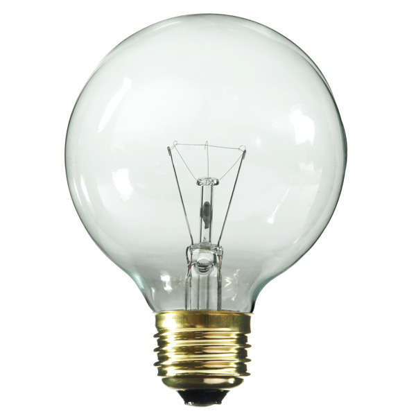 Satco S3887 - 25 Watt Light Bulb - G18 Globe - Clear - 1,500 Life Hours - 158 Lumens - 120 Volt