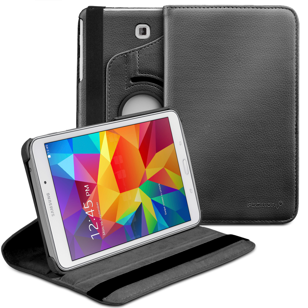 Fosmon GYRE Revolving Leather Case Cover for Samsung Galaxy Tab 4 8.0 - Black