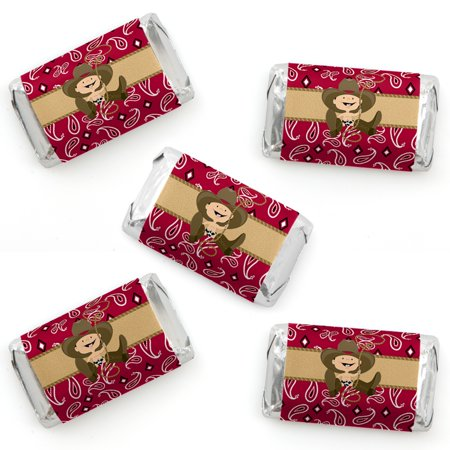 Little Cowboy - Mini Candy Bar Wrapper Stickers - Western Baby Shower or Birthday Party Small Favors - 40 Count